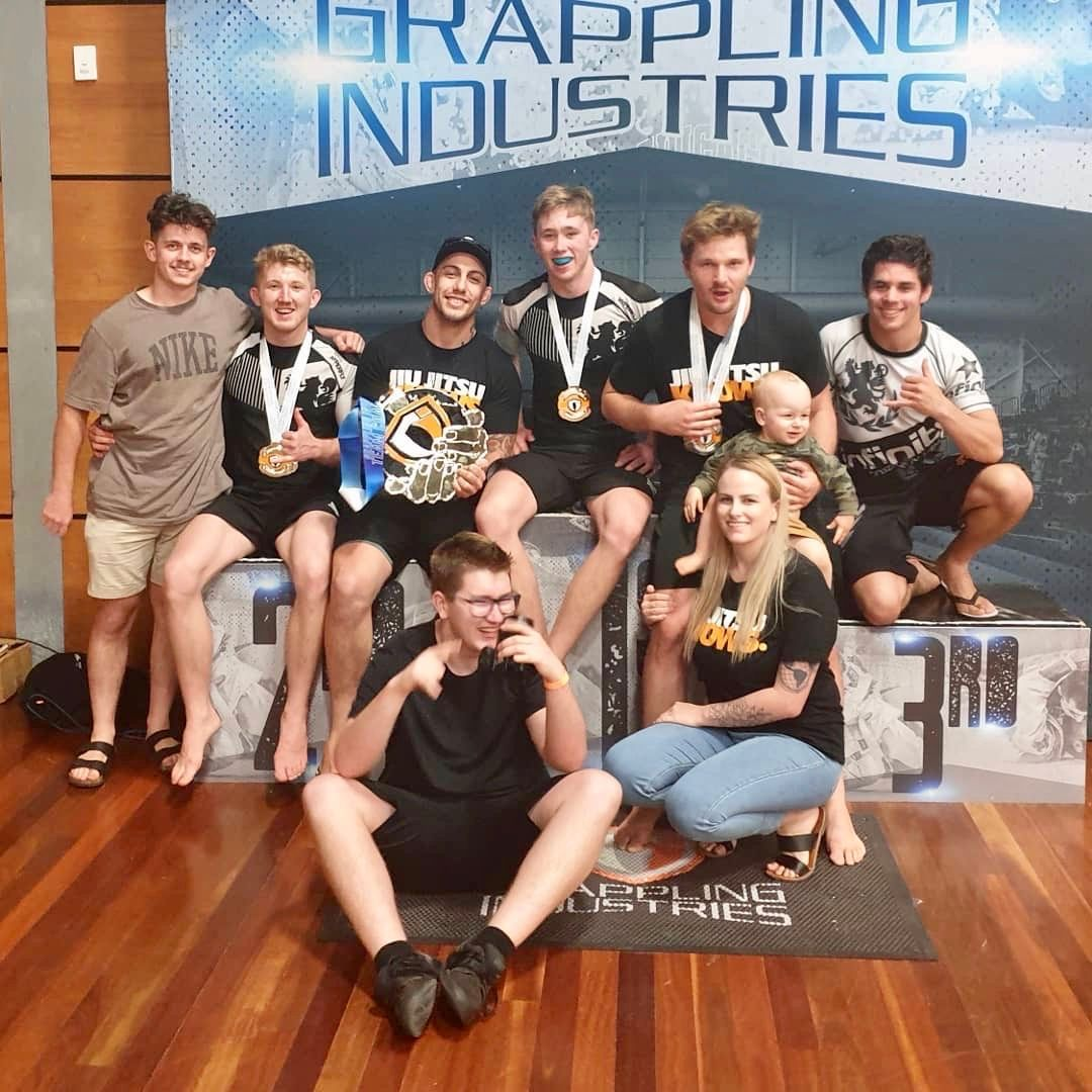 Infinity BJJ Sandgate Crew after winning the club of the day award at Grappling Industries Gold Coast.