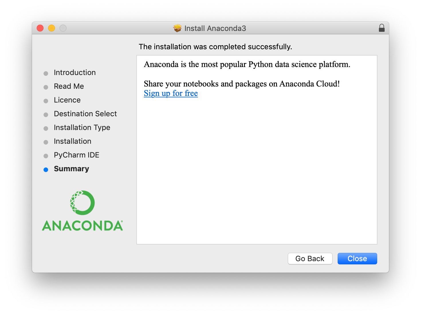 Anaconda installer success message