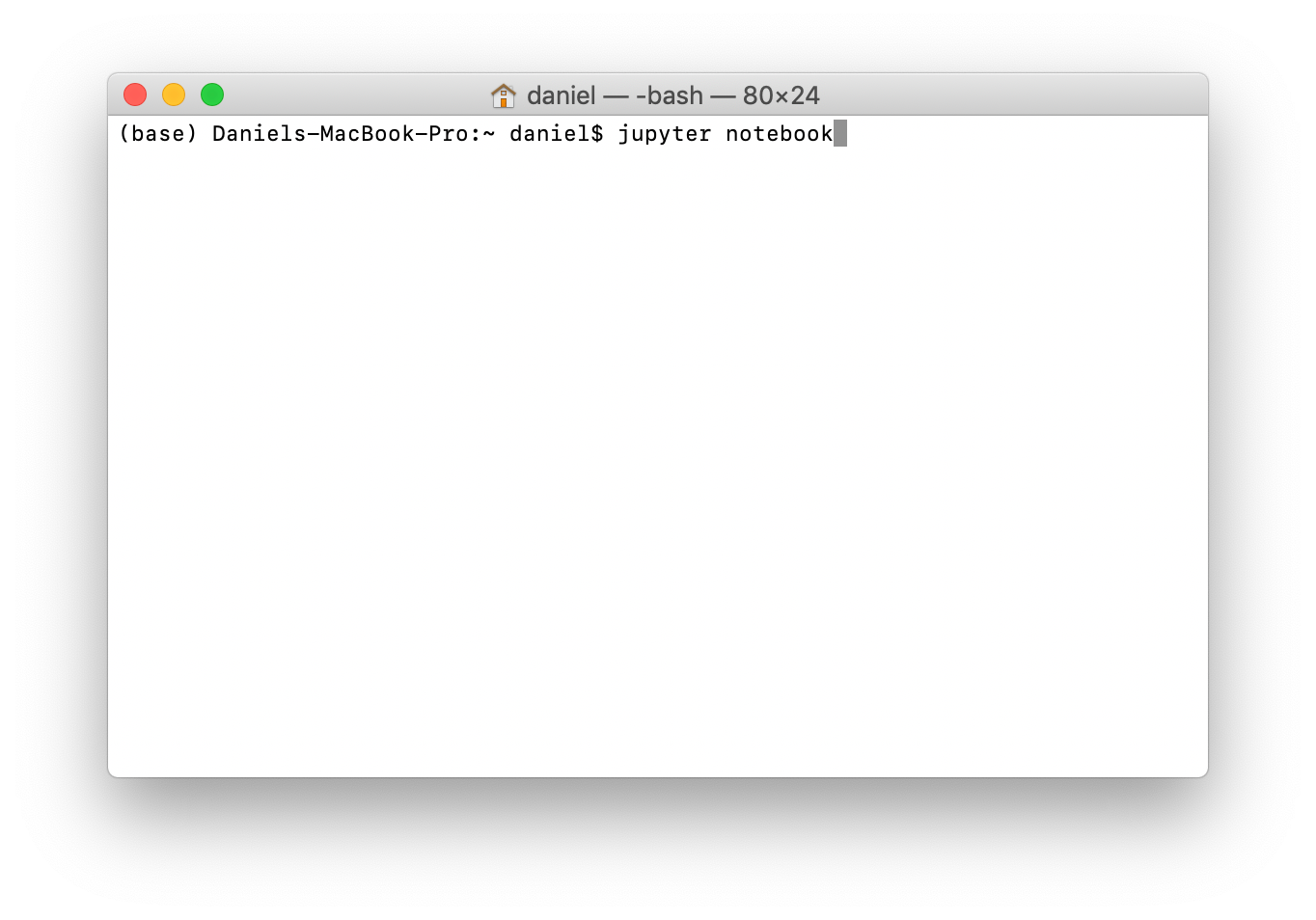 Running the Jupyter Notebook command on the command line.