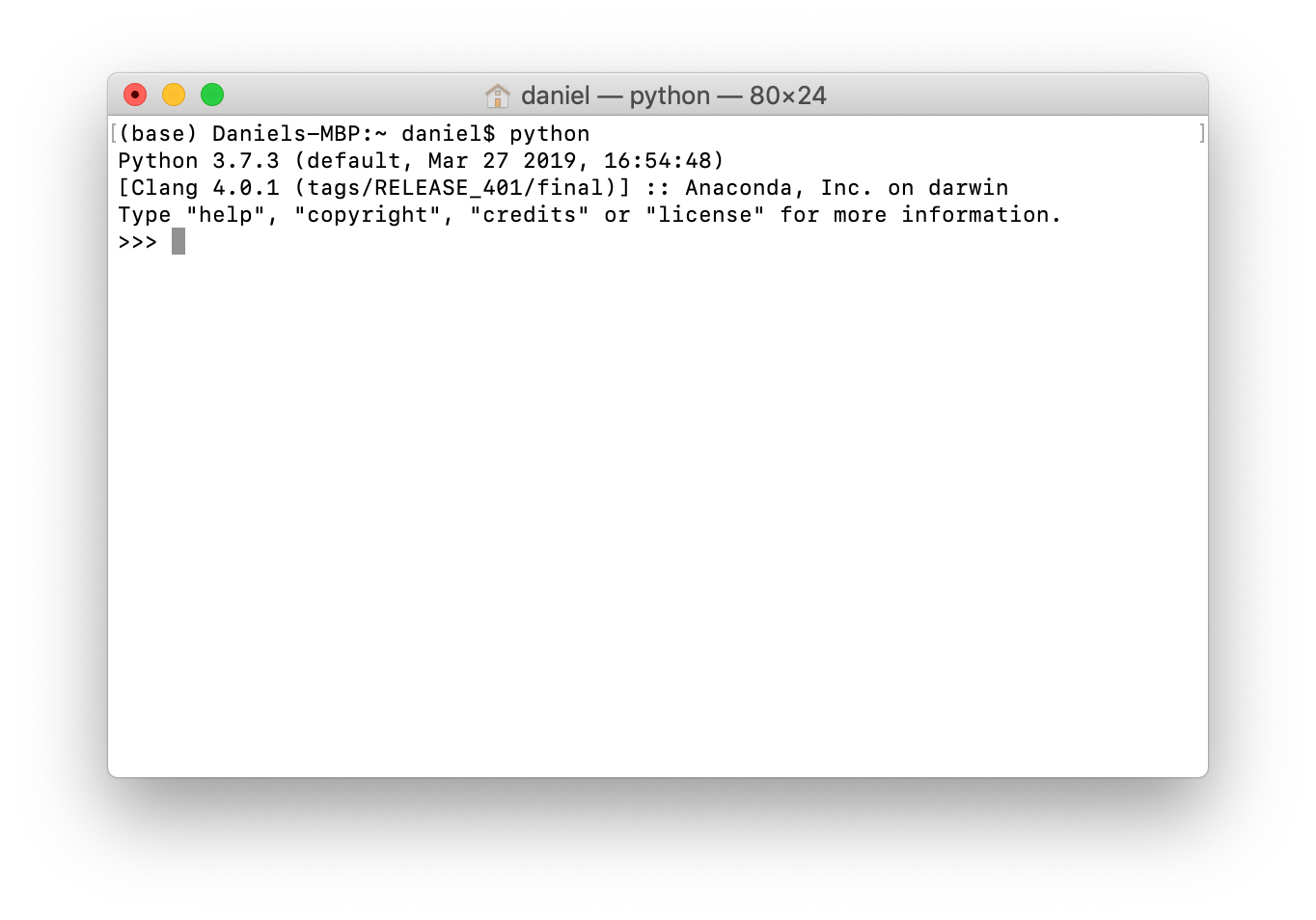checking the Python distribution on the command line