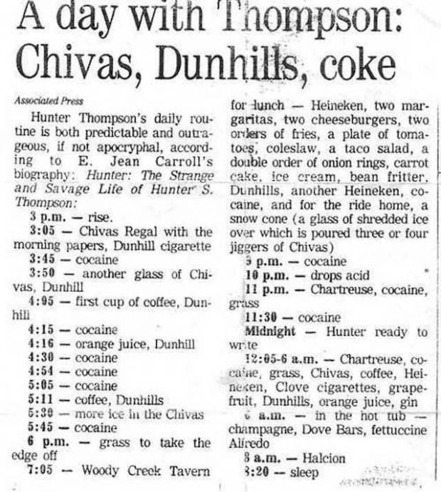 Hunter S. Thompson's daily schedule.