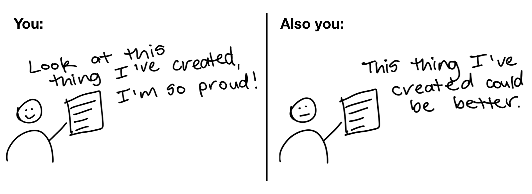 comic showing someone being proud and critical of their work at the same time