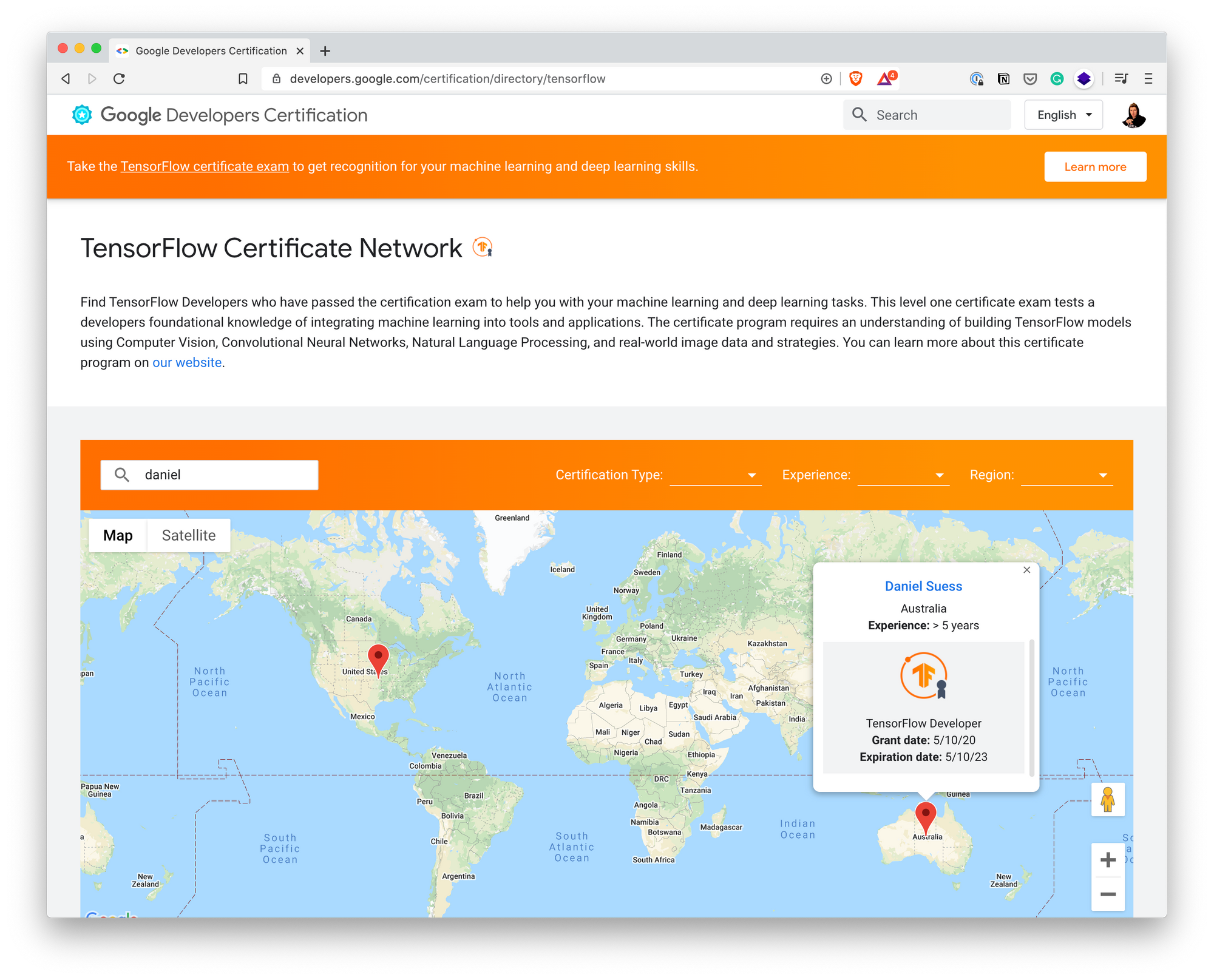 screenshot of tensorflow developers network with certifications of those in australia highlighted