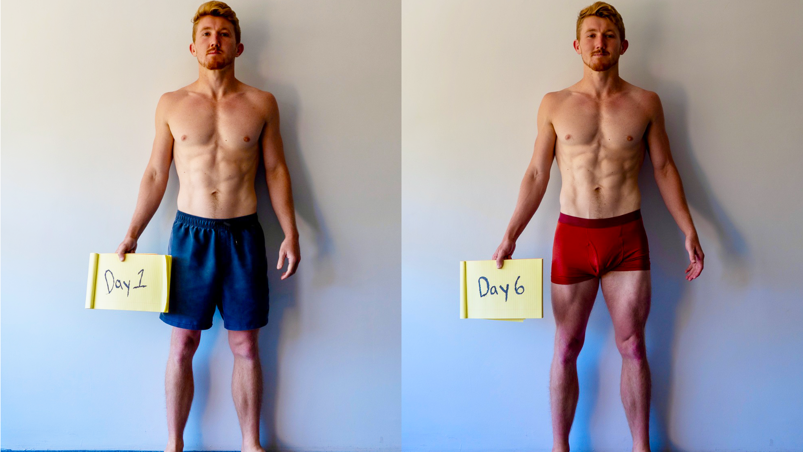 comparison photo of day 1 and day 6 of the fast