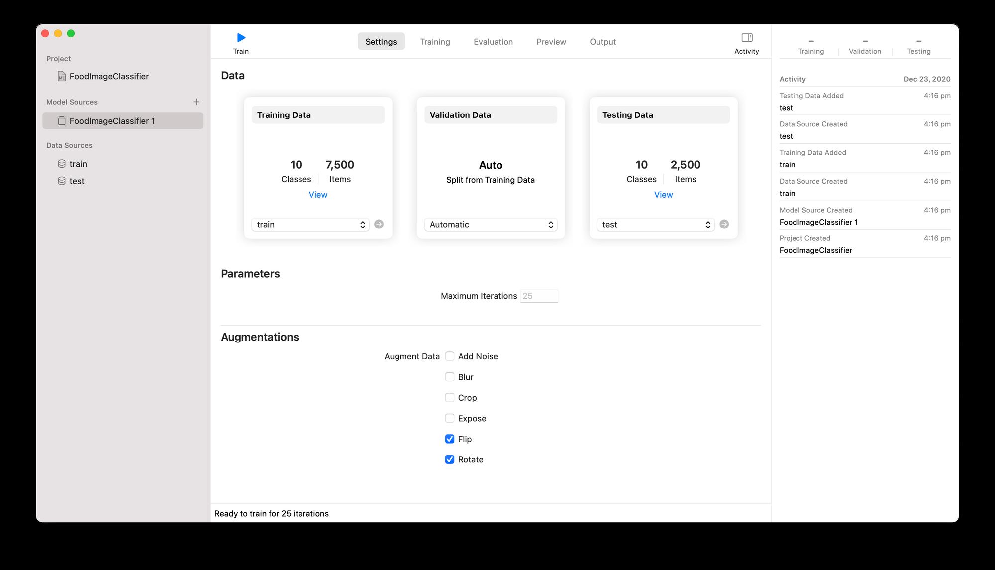settings for CreateML machine learning image classification model training