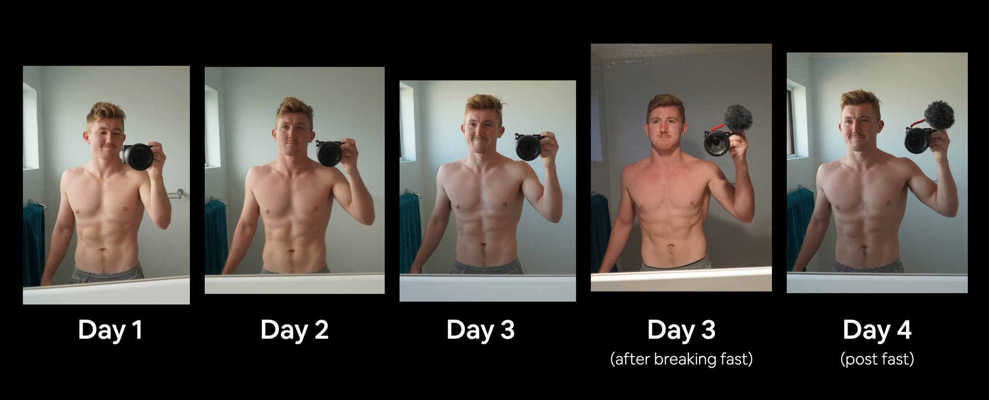 progress shots from day 1 through to day 4 of the 3 day fast