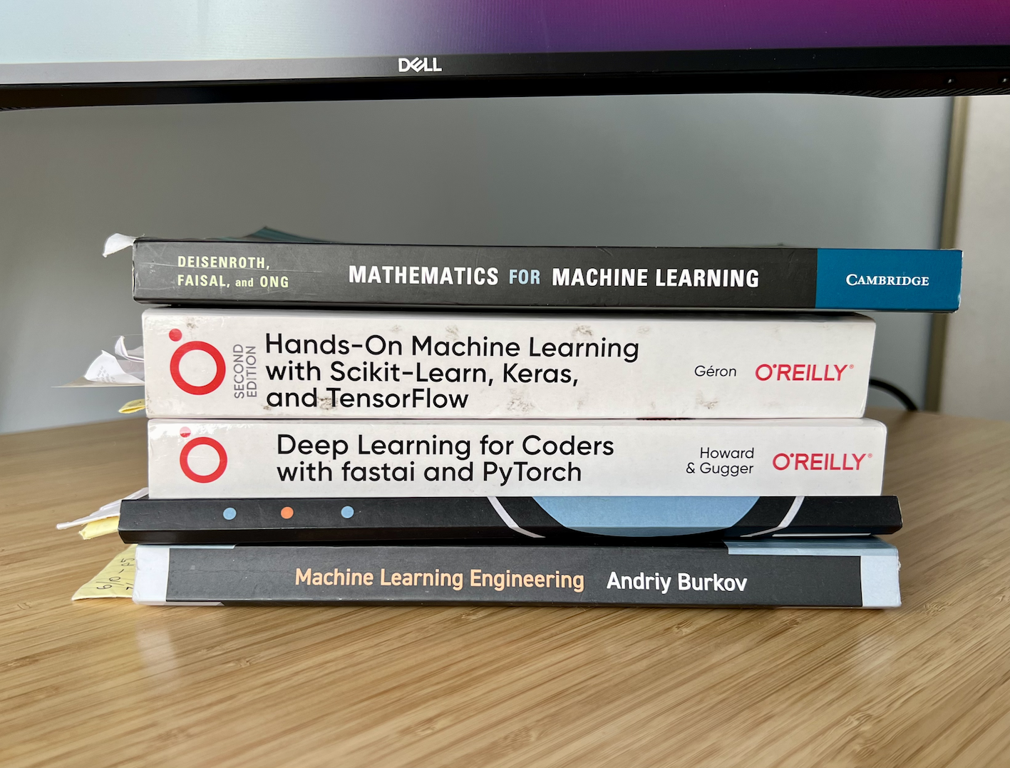 my favourite machine learning books (stacked on my desk)